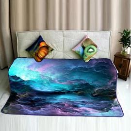 Colorful Sea of Clouds and Mountain Pattern Flannel Bed Blankets