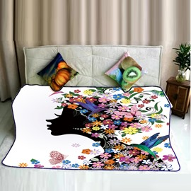 Floral Dressing Hair Girls Kissing Left and Butterflies Pattern Flannel Bed Blankets