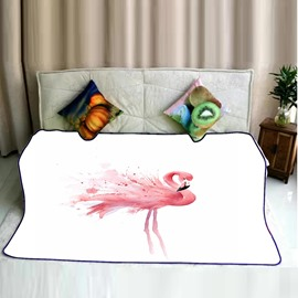 Pink Flamingo Standing Still Pattern Flannel Bed Blankets