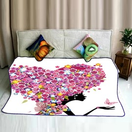 Floral Heart Shape Wings and Fairy Butterflies Pattern Flannel Bed Blankets