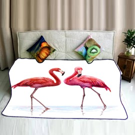 Red Flamingo Couple in Water Pattern Flannel Bed Blankets