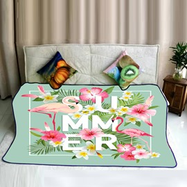 Summer Tropical Plants and Flamingos Pattern Flannel Bed Blankets