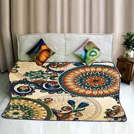 Chic Mandala Pattern Exotic Style Flannel Bed Blankets