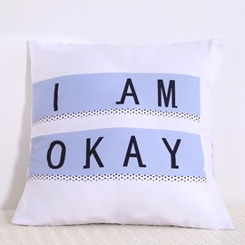 I Am Okay Letters Decorative Square Polyester Throw Pillowcases