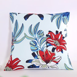 Red and White Lily Pattern with Leaves Decorative Square Polyester Throw Pillowcases