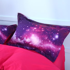 3D Galaxy Cluster Printed Purple 2-Piece Bed Pillowcases