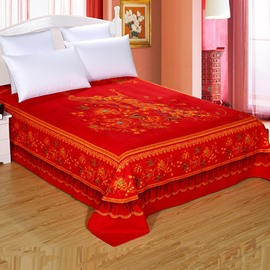 King Size Red Flowers and Pteris Wedding Style Cotton Printed Sheet