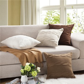 Nordic Style Knitting Braid Square Decorative Throw Pillowcase