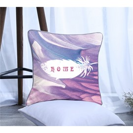Rome Letters and Feathers Pattern Polyester One Piece Decorative Square Throw Pillowcase
