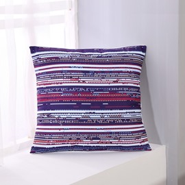 Blue Red and White Stripes Pattern Decorative Square Polyester Throw Pillowcases