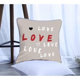 Letter Love with Heart Pattern Polyester One Piece Decorative Square Throw Pillowcase