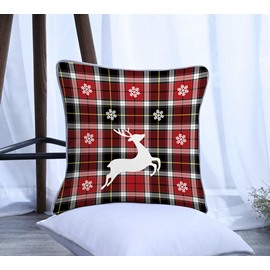 Black and Red Grid Elk Pattern Polyester One Piece Decorative Square Throw Pillowcase
