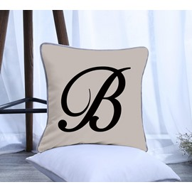 Letter B Pattern Polyester One Piece Decorative Square Throw Pillowcase