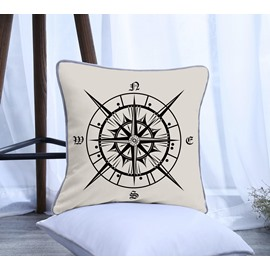 Compass Pattern Polyester One Piece Decorative Square Throw Pillowcase