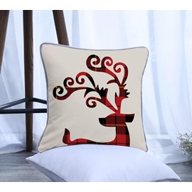 Grid Elk Pattern Polyester One Piece Decorative Square Throw Pillowcase