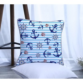 Boat Wheel and Shell with Blue Stripes Pattern Polyester One Piece Decorative Square Throw Pillowcase