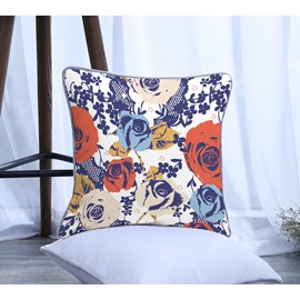 Painting Blue and Orange Flowers Pattern Polyester One Piece Decorative Square Throw Pillowcase