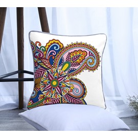 Paisley Design Pattern Polyester One Piece Decorative Square Throw Pillowcase