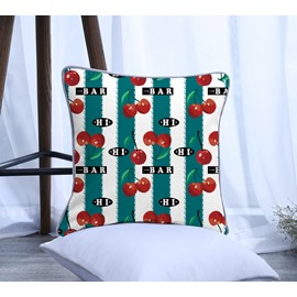 Painting Cherry with Green Stripes Pattern Polyester One Piece Decorative Square Throw Pillowcase