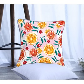 Painting Orange and Cherry Pattern Polyester One Piece Decorative Square Throw Pillowcase