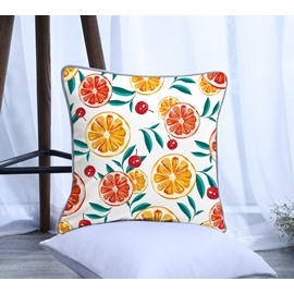 Orange and Cherry Pattern Polyester One Piece Decorative Square White Throw Pillowcase
