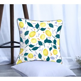Lemon with Green Leaves Pattern Polyester One Piece Decorative Square Throw Pillowcase