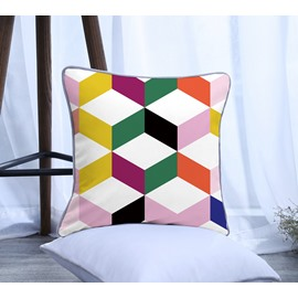 Yellow Green Purple Geometric Pattern Polyester One Piece Decorative Square Throw Pillowcase