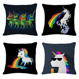 Unicorn with Rainbow Pattern Cotton Linen Blend Baby Square Throw Pillow