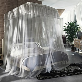 Luxury Style U-Shape Guide Stainless Steel Bracket Polyester Grey Mosquito Bed Nets