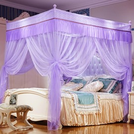 Three Openings Four Corner Post Stainless Steel Frame Purple Luxury Style Polyester Mosquito Bed Nets