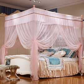 Three Openings Four Corner Post Stainless Steel Frame Light Pink Polyester Mosquito Bed Nets