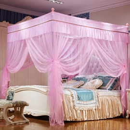 Three Openings Four Corner Post Stainless Steel Frame Pink Luxury Style Polyester Mosquito Bed Nets