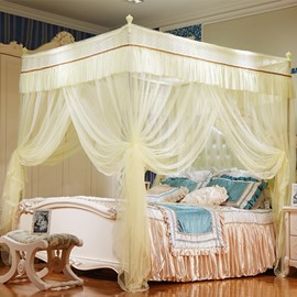Three Openings Four Corner Post Stainless Steel Frame Light Yellow Polyester Mosquito Bed Nets