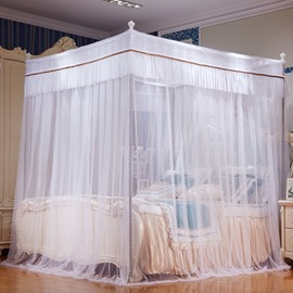 Three Openings Four Corner Post Stainless Steel Frame White Luxury Style Polyester Mosquito Bed Nets