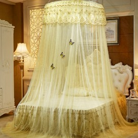 Yellow Round Lace Dome Polyester Lightweight Canopy Mosquito Net