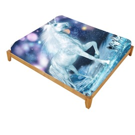Super Lifelike White Unicorn and Sparkling Lights Printed Cotton Fitted Sheet