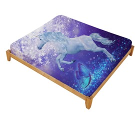 Unicorn and Butterfly Printed Cotton Fitted Sheet
