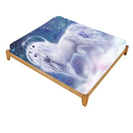 New Fancy White Unicorn and Galaxy Printed Cotton Fitted Sheet