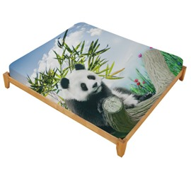 3D Panda on a Branch Printed Cotton Fitted Sheet