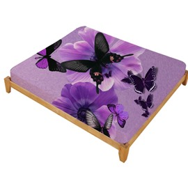 3D Purple Butterflies and Flowers Printed Cotton Fitted Sheet