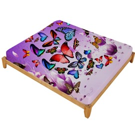 3D Colorful Butterflies and Purple Flower Printed Cotton Fitted Sheet