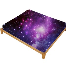 3D Purple Galaxy Printed Cotton Fitted Sheet