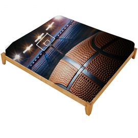 3D Shooting a Basketball in Empty Basketball Court Printed Cotton Fitted Sheet