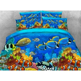 3D Colorful Fish Printed 2-Piece Polyester Pillow Cases