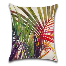 Plant Pattern Linen Material Reactive Printing Technics Pillow Case