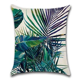 Plant Pattern Linen Material Indoor Occasion Reactive Printing Technics Pillow Case