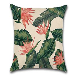 Reactive Printing Technics Indoor Occasion Plant Pattern Linen Material Pillow Case