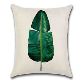 Linen Material Plant Pattern Reactive Printing Technics Pillow Case