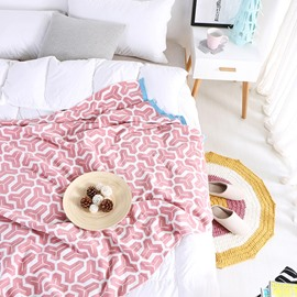 Geometric Pattern Fall Spring Season Cotton Material Blanket