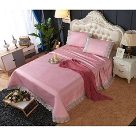 Pink Sheet Style Lace Polyester 3- Piece Summer Sleeping Mat Sets